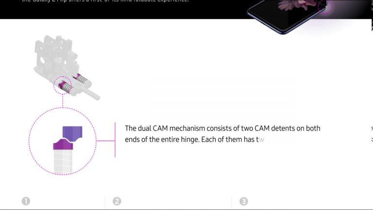 O privire la interiorul balamalei ascunse aflată pe Galaxy Z Flip
