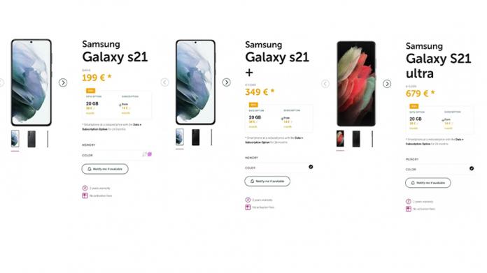 Preturile pentru seria Galaxy S21 dezvăluite de operatorul belgian Voo