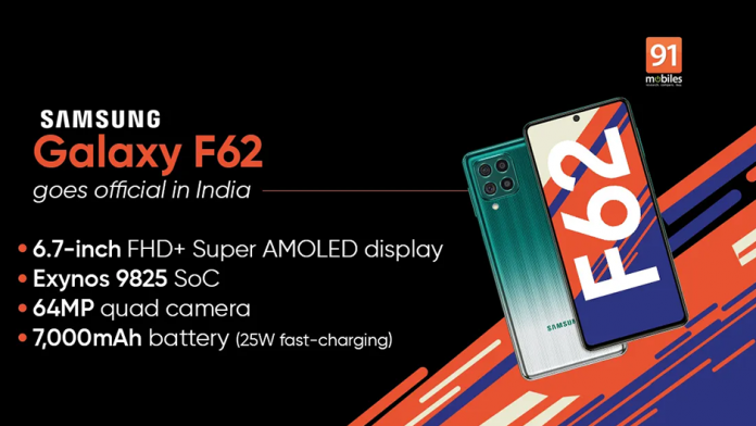 Samsung Galaxy F62 lansat baterie de 7000 mAh si Exynos 9825