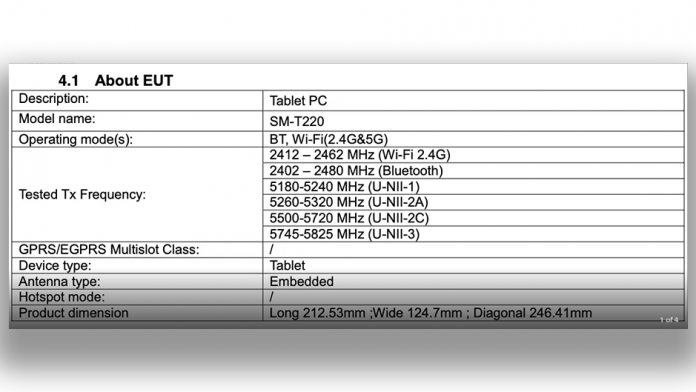 Specificatiile cheie la Galaxy Tab A7 Lite dezvaluite de FCC