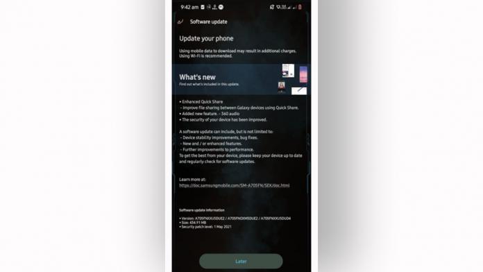 Patch din mai la Galaxy A70 mai 2021 aduce Audio 360 la Buds Pro
