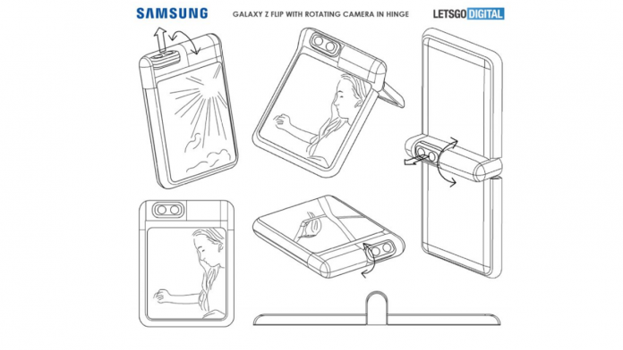 Samsung Galaxy Z Flip cu o camera rotativa in balama